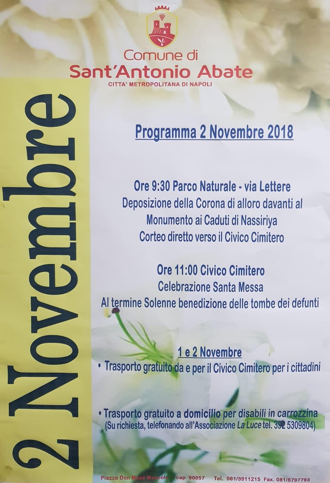 commemorazione dei defunti - programma 2 novembre